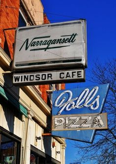 Old Signs - Chicopee Falls, Massachusetts #typography #vintage #type #script #sign #neon #pizza