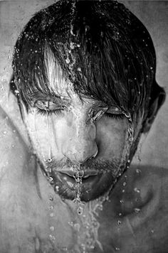 Hyperrealistic Art by Paul Cadden - Enpundit #water #wet #droplets #head #illustration #man #pencil #sketch