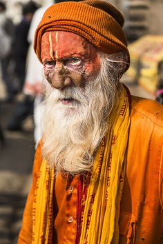 India on Behance #photography #india #man #portrait #old man #beard #orange #colour