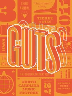 Dribbble - GUTS POSTER 2.png by Matt Stevens #guts #poster #typography