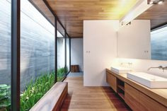 """CJWHO â""""¢ (Two Houses Become One: Wall House by...) #design #interiors #wood #photography #architecture #luxury #green"""