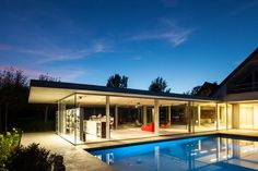 Glass And Concrete Pool House In Belgium