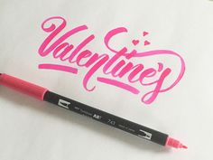 Valentine's Day #lettering #hand #brush #typography