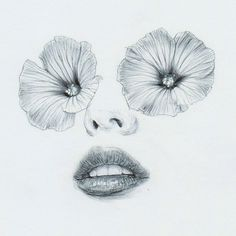 """PinkP"" by Beniamino Leone #illustration #drawing #black and white #flowers #petals #face #lips #woman #eyes"
