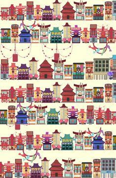 Tokyo vol.2. on Behance #asia #illustration #tokyo #architecture #cute #colour #japan #buildings