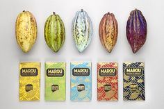 Marou chocolate packaging | CreativeRoots #packaging #foil_stamping #chocolate #design #foil #fruit
