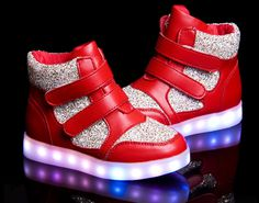 2016 new Kid's shoes led luminous shoes usb charging (Red)