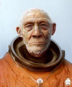 Coming Home by Michael Kutsche - CGHUB #astronaut #space #ape #human #man #animal