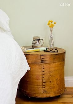 before & after: cheese box nightstands | Design*Sponge #cheese #box #sidetable #furniture #diy