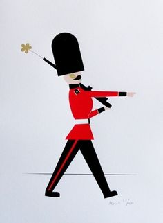 Made By Morris #printed #silkscreen #red #london #print #black #guard #gold #hand