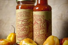 Bob's Tasty Habanero Sauce and Jelly on Packaging Design Served #packaging #illustration #lettering