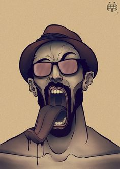 ILLUSTRATIONS. 01 - VONHAGGEN #glasses #acid #illustration #tongue #hype