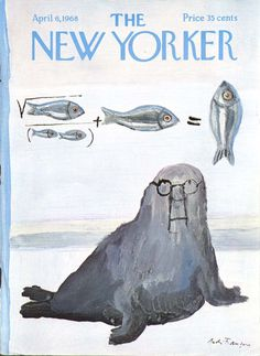 New Yorker cover Francois walrus fish calculus 4/6 1968