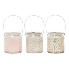 Olrig, Rose Quartz, Taupe Mini Glass Lanterns, Set of 3
