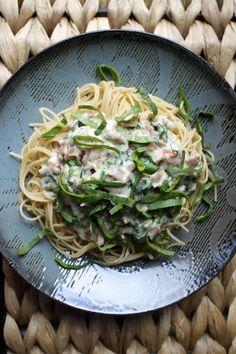 Creamy Prosciutto #plate #pasta #food #spaghetti