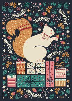 Merry Little SquirrelArt Print #poppy #red