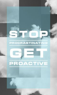 Stop Procrastinating - Blue #font #white #print #black #photography #poster #art #type #typography