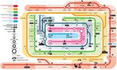 """Super Highways\"" Infographic Map by Christian TateRather lovely subway map styled infographic/illustration showing six of the worlds mos"