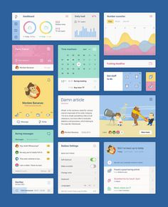 Flat and Colorful UI kit PSD