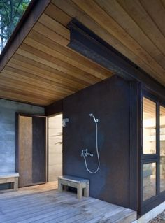 Olson Kundig Architects - Projects - Gulf Islands Cabin #architecture #corten #tom kundig #cabin #outdoor shower