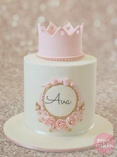 Pink crown birthday cake