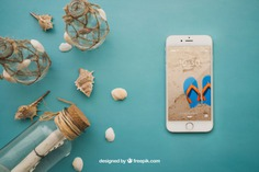 Summer theme with smartphone Free Psd. See more inspiration related to Mockup, Summer, Beach, Sea, Sun, Holiday, Smartphone, Bottle, Mock up, Decorative, Vacation, Summer beach, Marine, Up, Season, Theme, Shells, Composition, Mock, Summertime and Seasonal on Freepik.