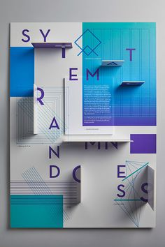 Systematic Randomness - Lauren Messina #graphicdesign #grid #poster #3d #typography