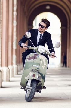 the suit man:Suits & style 4 men : http://the suit man.tumblr.com/ #suite #camo #vespa #man #moped