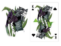 AO MATU design playing cards by Nastya KFKS. Floral and tropical design with great characters