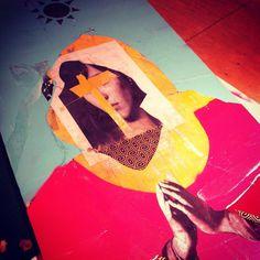 Steffen Quong Art #collage #mixed media #spray paint #steffen quong #virgin mary