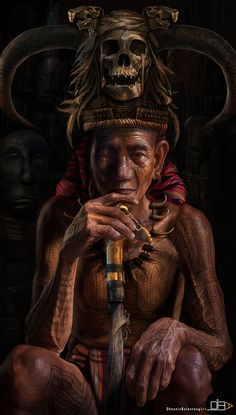 The Elder of Head Hunters in Mt. Province PhilippinesFor centuries the tribesmen of the Cordillera stalked their enemies, lopped off their h #hunter #tribesmen #tribe #philippines #culture #illustration #religion #elder #painting #awesome