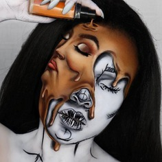 Melted double-face Halloween makeup