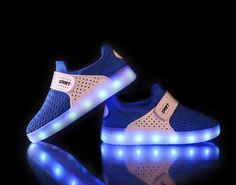2016 Fashion luminous breathable Kids shoes blue