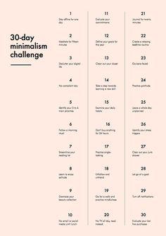 30-Day Minimalism Challenge #calendar
