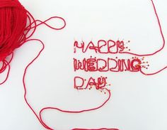 graphicwand #red #card #typography #needle #greeting #wedding #sewing
