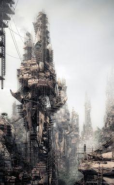 Ross Jordan:Favelização imagines Rio de Janeiro under a future government elimination strategy which barricades the favelised regions from #dystopia #rio #city #janerio #de #illustration #industrial #buildings