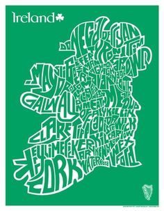 metalboxdesign — Ireland County Map Silkscreend Poster: 1 Color #typography #ireland #design #map #green