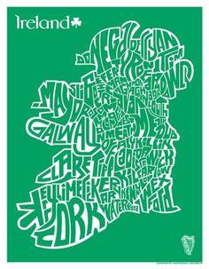 metalboxdesign — Ireland County Map Silkscreend Poster: 1 Color