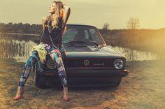 Photograph Monika #model #woman #photography #vintage #rabbit #car #volkswwagen