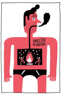 Benoit Tardif / theatre de la licorne / colagene.com #smoke #drawing #illustration #fire #man #naive #hand