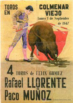 CARTEL DE PLAZA DE TOROS DE COLMENAR VIEJO COMPUESTO DE 10 ENTRADAS PARA LA ENTRADA A LA PLAZA. #spanish #toro #poster #typography