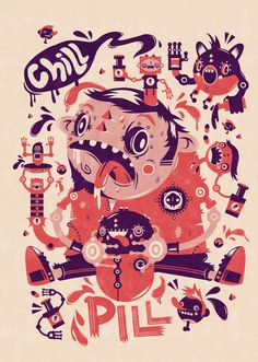 Chill Pill on the Behance Network #character #illustration #tshirt #screenprint