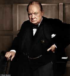 New life: This famous portrait photo of British Prime Minister Winston Churchill takes on a whole new life with a dose of color #photography #chuchill #uk