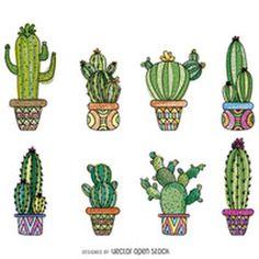 Hand drawn cactus set http://bit.ly/29nkkVr