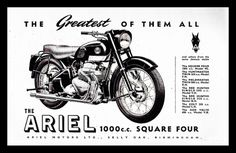 1956 Ariel Square Four motorcycle advert