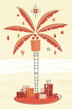 So Cal christmas card | Brad Woodard #palm #tree #card #presents #christmas #illustration #star