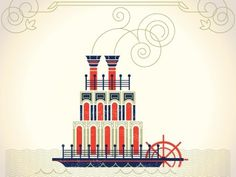 Dribbble - Mississippi Steam Boat by Alex Perez #steamboat #mississippi #travel #alex #been #everwhere #illustration #perez