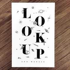 Look Up | Screen Printed Poster #space #stars # poster #planets #exploration
