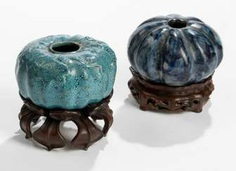 Two brush washer porcelain, turquoise and dark blue glaze #porcelain