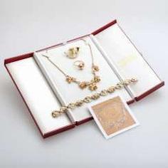 Set GRANDEL jewelry: 1 necklace, GG/RG 14 K,